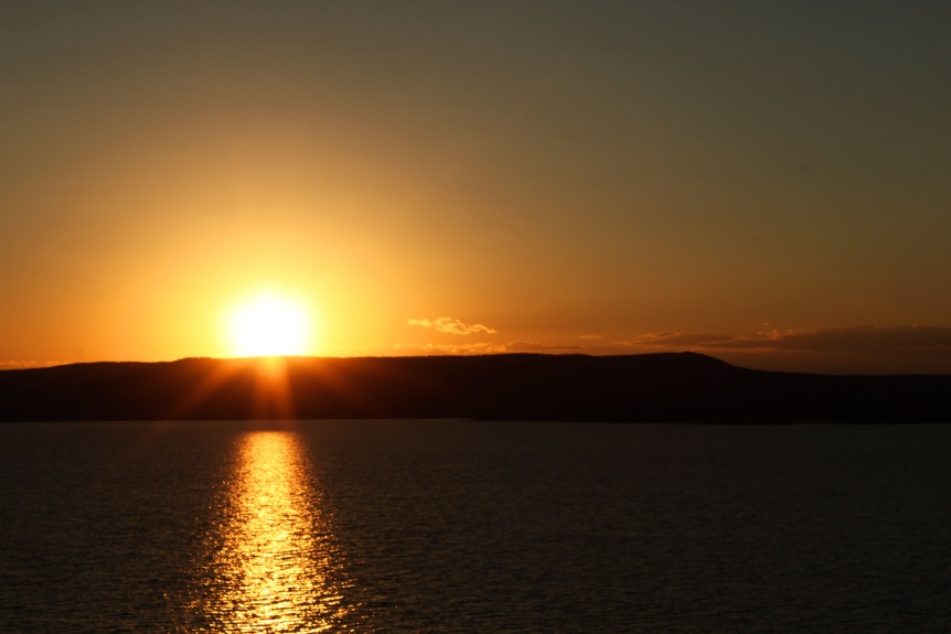 sunset on yellowstone lake